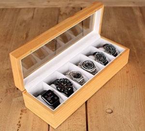 Case Elegance Uhrenbox aus Kiefernholz